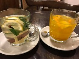 fruit and and herbal teas in glass mugs